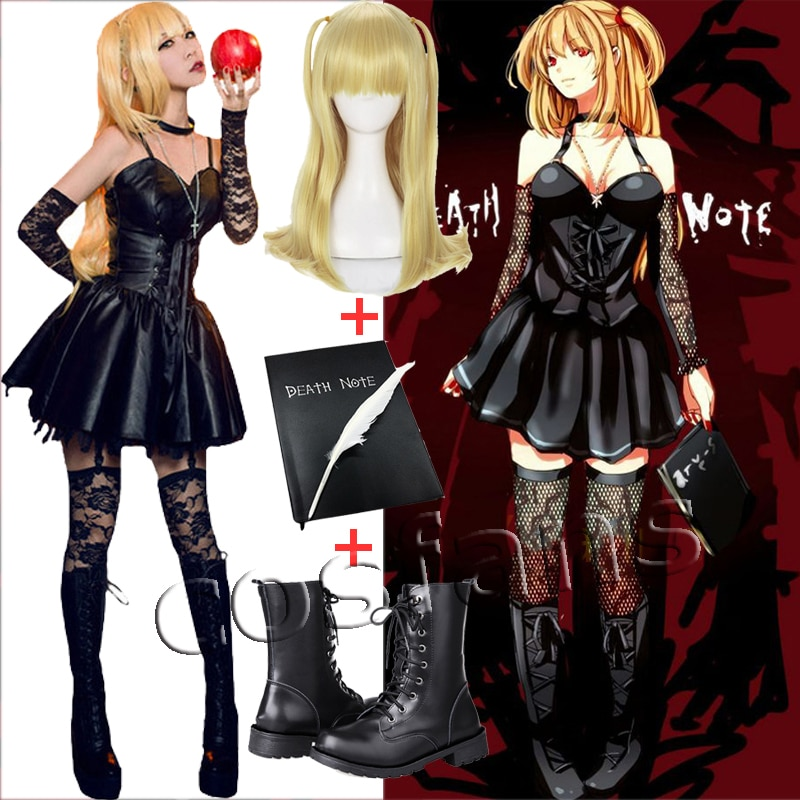 Death Note Misa Cosplay Costume Misa Amane Imitation Leather Sexy Dress +gloves+stockings+necklace Uniform Outfit Cosplay Wigs 1