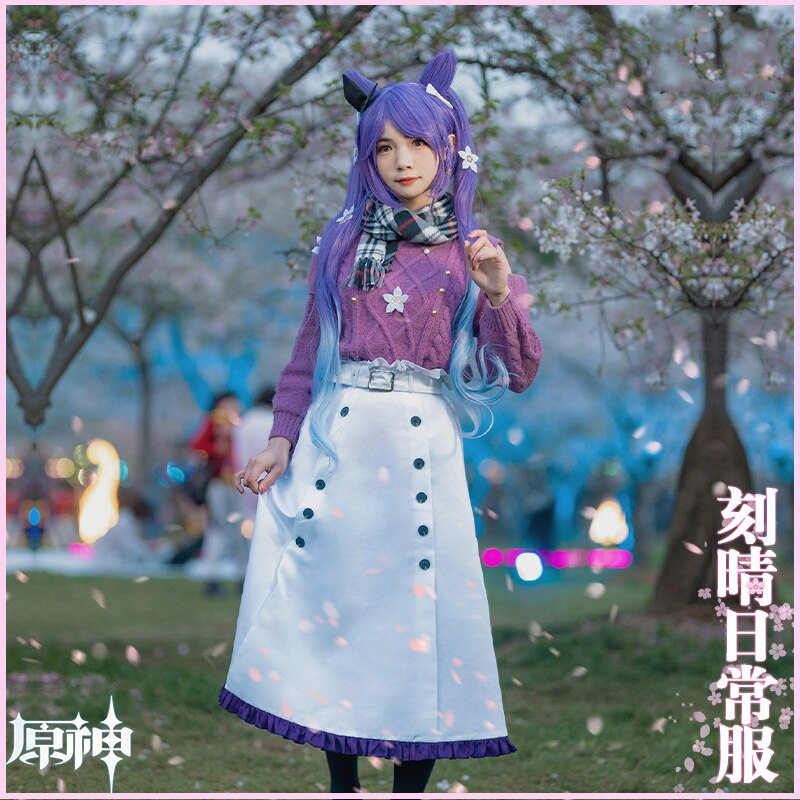 KEQING Cosplay Genshin Impact Costumes Cashmere Sweater Anime Project White Skirt Girl JK Clothes Belt Scarf Halloween Wigs 4