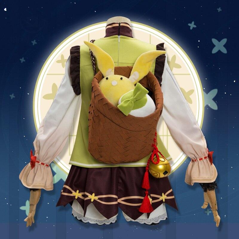 Game Genshin Impact YaoYao Skin Lolita Dress Cute Uniform Loli Outfit Cosplay Costume Women Halloween Yaoyao Cosplay Wig Shoes 4