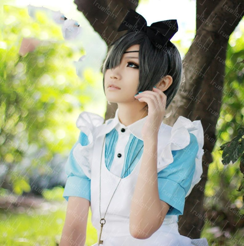 Free Shipping Lolita Maid Outfit Black Butler Ciel Phantomhive Cosplay Costume halloween servant girl housemaid costume 2