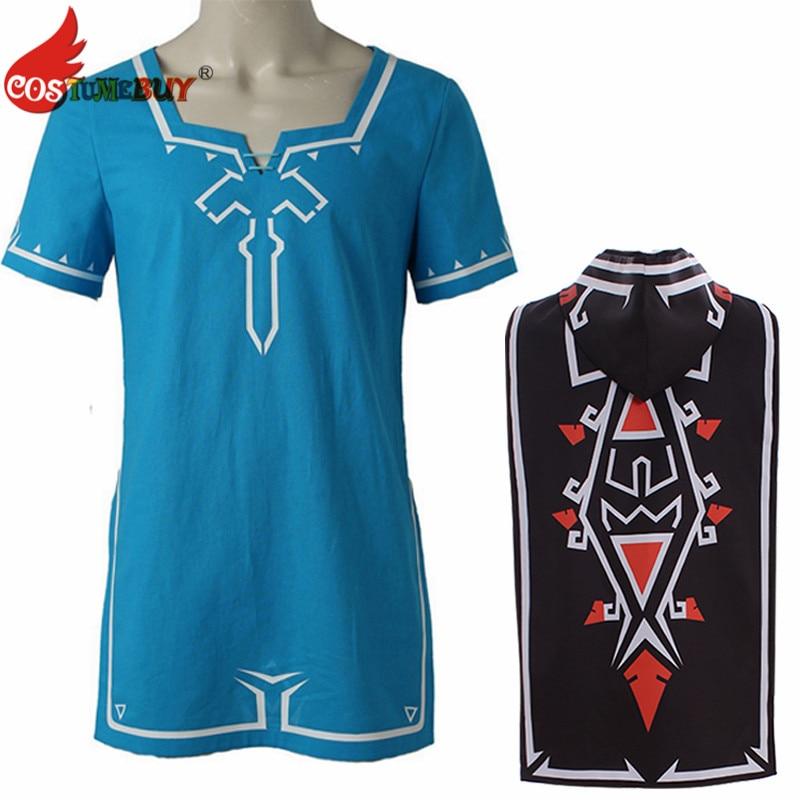 CostumeBuy Zelda shirt Breath of Wild Link blue T shirt Men cosplay Costume Blue T-Shirt Tees Cloak Halloween Unisex 1