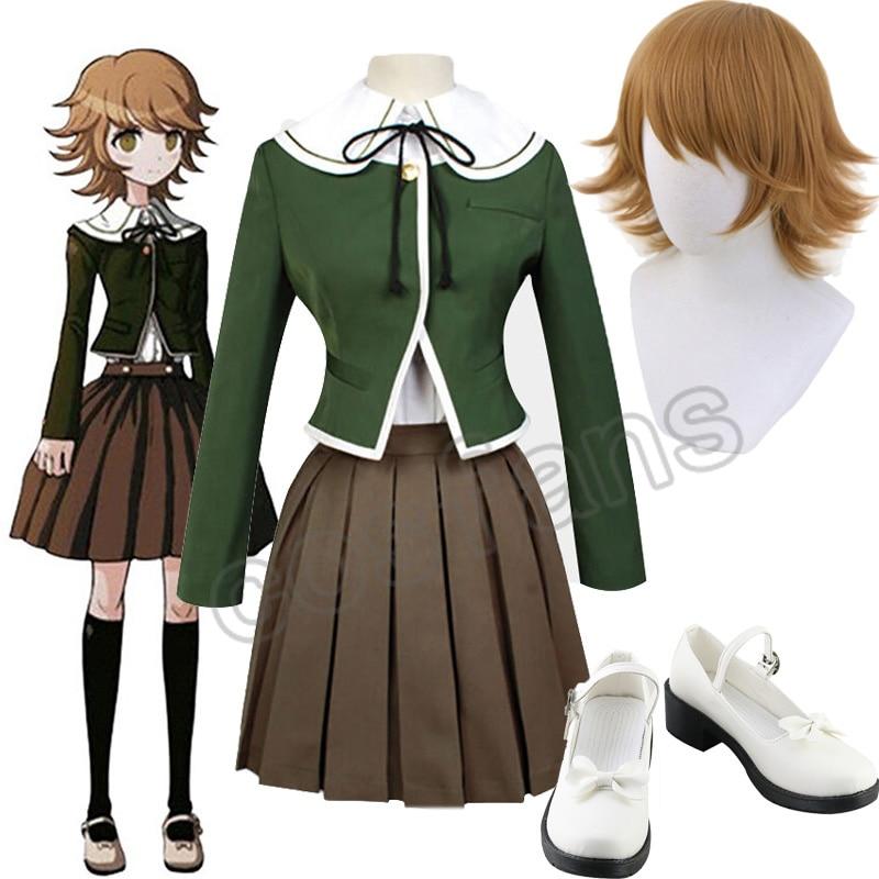 Anime Danganronpa Fujisaki Chihiro Cosplay costumes School Uniform Coat Shirt Dress Outfits Danganronpa Halloween Costumes Shoes 1