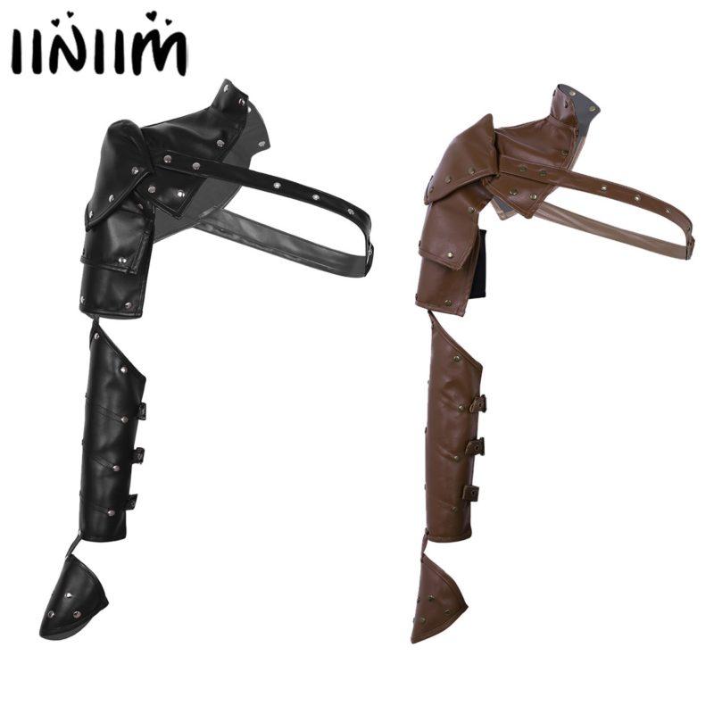 Unisex Gothic Steampunk PU Single Shoulder Armors Arm Strap Set Adjustable Metal Rivets Shoulder Strap Cosplay Costume Accessory 1