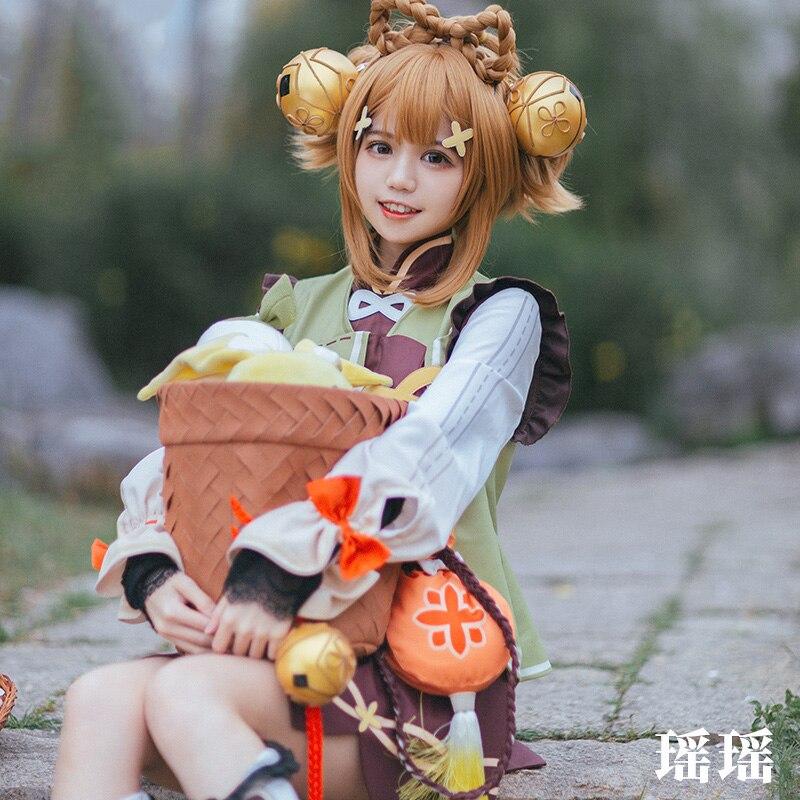 Game Genshin Impact YaoYao Skin Lolita Dress Cute Uniform Loli Outfit Cosplay Costume Women Halloween Yaoyao Cosplay Wig Shoes 5