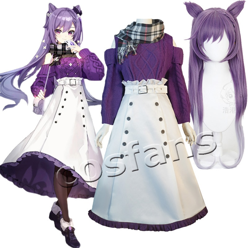 KEQING Cosplay Genshin Impact Costumes Cashmere Sweater Anime Project White Skirt Girl JK Clothes Belt Scarf Halloween Wigs 1
