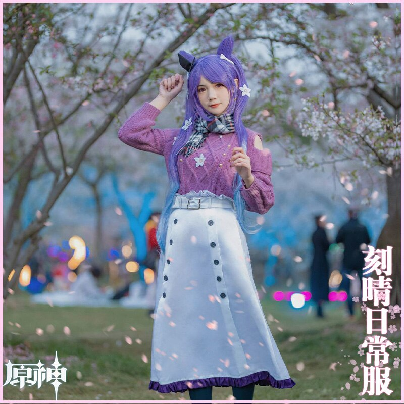 KEQING Cosplay Genshin Impact Costumes Cashmere Sweater Anime Project White Skirt Girl JK Clothes Belt Scarf Halloween Wigs 3