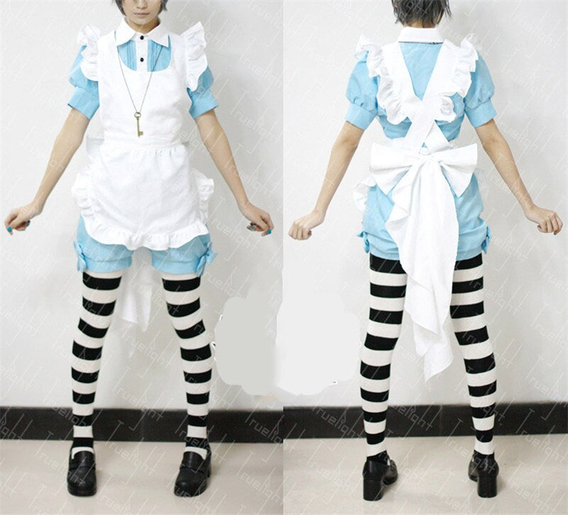 Free Shipping Lolita Maid Outfit Black Butler Ciel Phantomhive Cosplay Costume halloween servant girl housemaid costume 5
