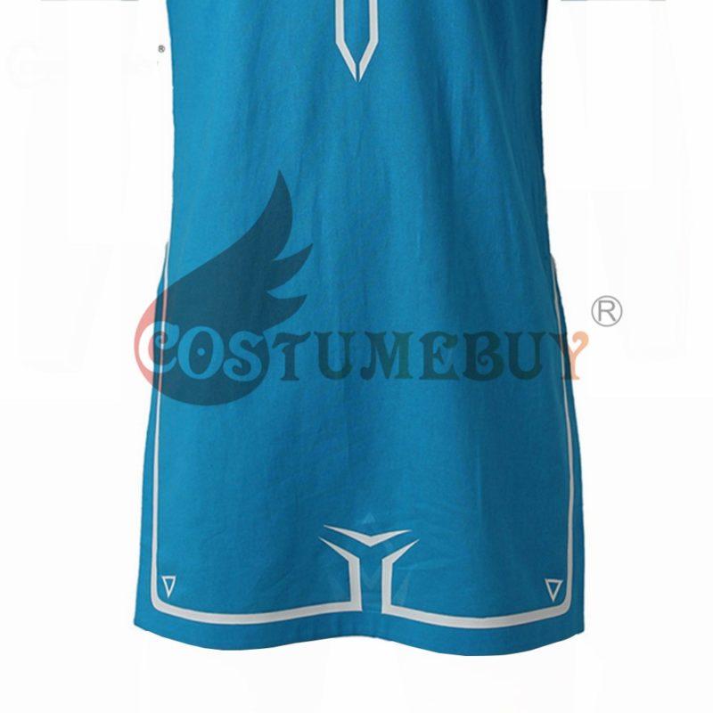 CostumeBuy Zelda shirt Breath of Wild Link blue T shirt Men cosplay Costume Blue T-Shirt Tees Cloak Halloween Unisex 5