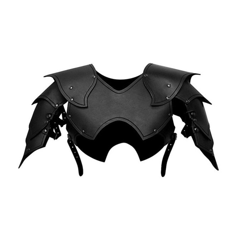 Men Medieval Costume Armors Cosplay Accessory Gothic Knight Warrior PU Leather Harness Rome Fencer Gladiator Shoulder Pauldrons 4