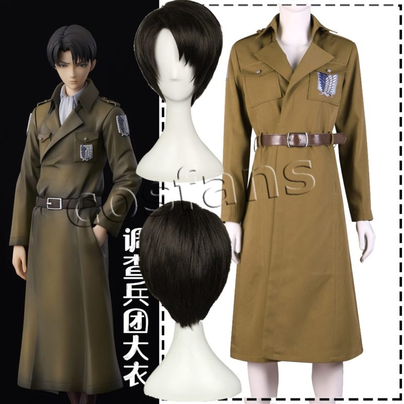 Attack on Titan Season 3 Eren Cosplay Costume Scouting Legion Soldier Officer Uniform Adult Men Halloween Trench Clothing Wigs 1