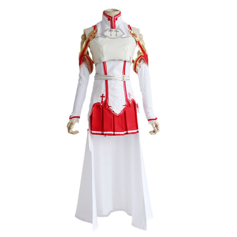 Sword Art Online Asuna Yuuki Cosplay Costumes Uniform for Halloween Party Costume SAO Asuna Battle Suit Outfits with Wig Shoes 2