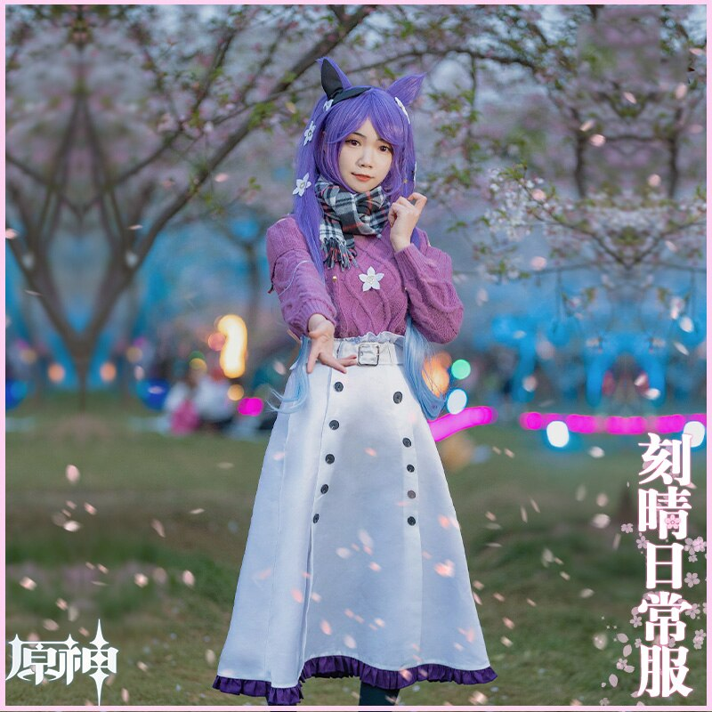 KEQING Cosplay Genshin Impact Costumes Cashmere Sweater Anime Project White Skirt Girl JK Clothes Belt Scarf Halloween Wigs 5