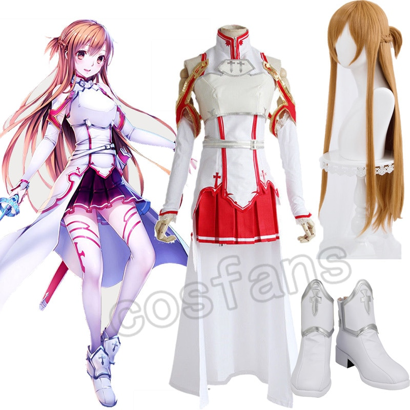 Sword Art Online Asuna Yuuki Cosplay Costumes Uniform for Halloween Party Costume SAO Asuna Battle Suit Outfits with Wig Shoes 1