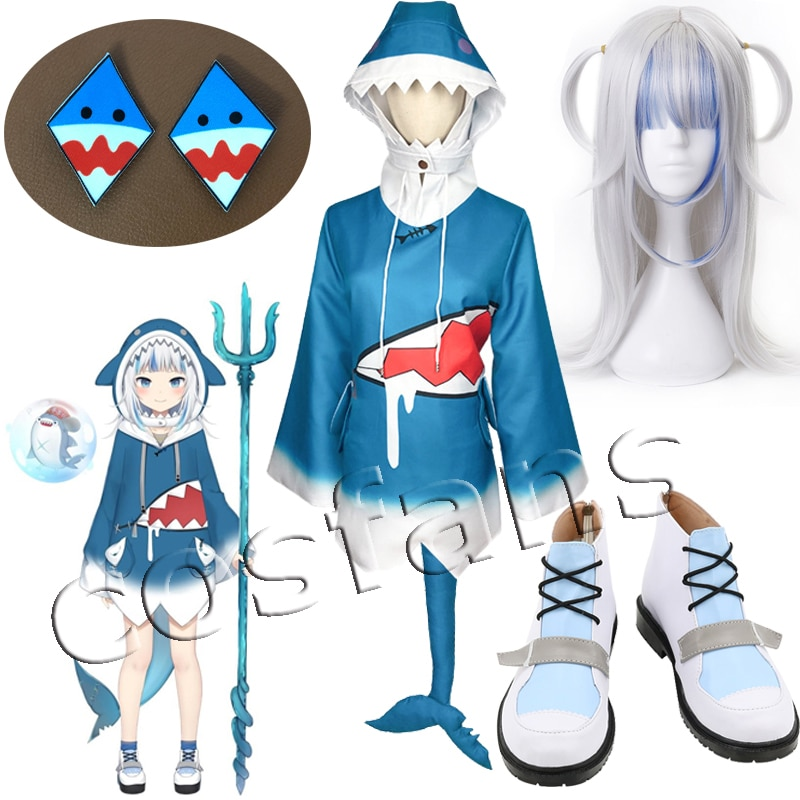 Hololive Gawr Gura Cosplay Costume ENG Shark Costume for Women Halloween Youtuber Cosplay Full Set Tail Xmas outfits shoes 2021 1