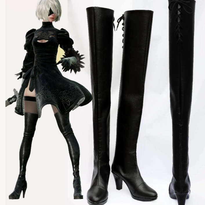2017 New Game NieR:Automata 2B YoRHa Cosplay Shoes Anime Boots 1