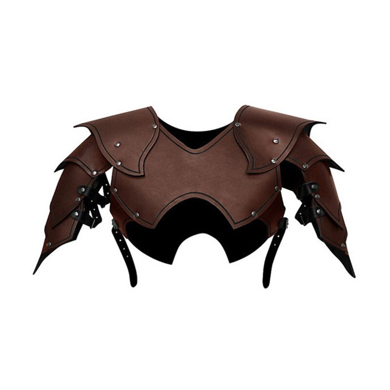Men Medieval Costume Armors Cosplay Accessory Gothic Knight Warrior PU Leather Harness Rome Fencer Gladiator Shoulder Pauldrons 5