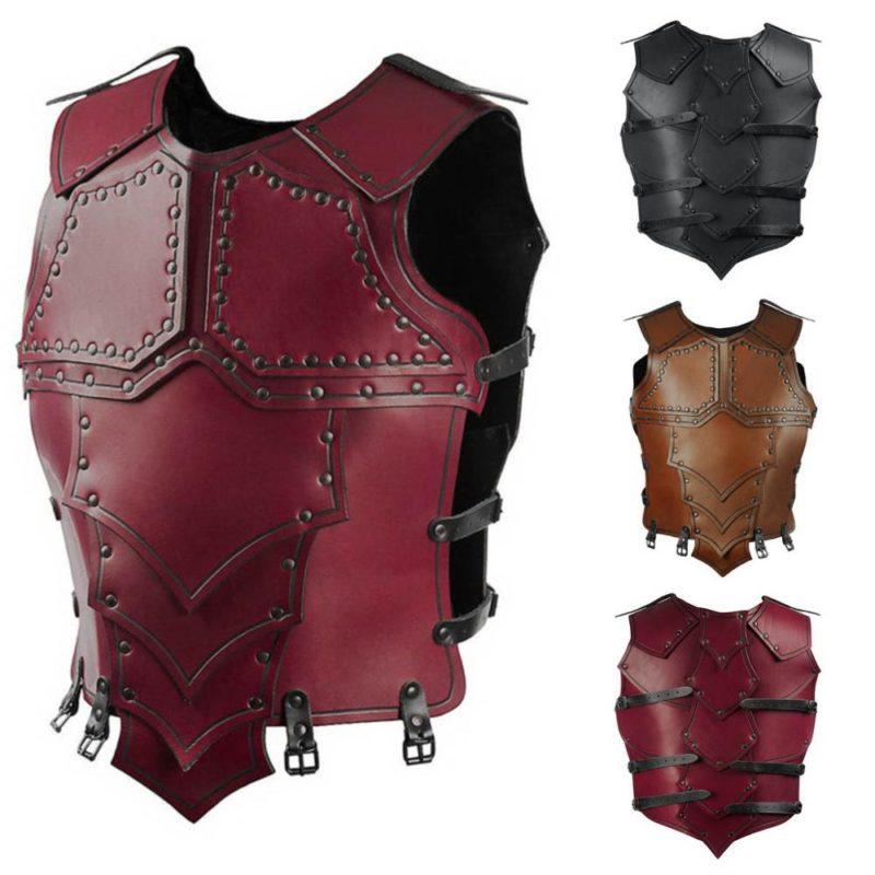 Medieval Vintage Leather Armor Steampunk Rivet Gear Viking Warrior Gladiator Combat Costume War Fighting Larp Hard Vest For Men 1