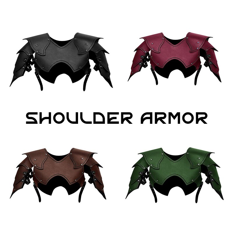 Men Medieval Costume Armors Cosplay Accessory Gothic Knight Warrior PU Leather Harness Rome Fencer Gladiator Shoulder Pauldrons 3
