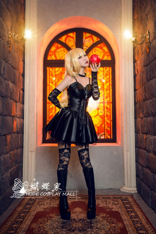Death Note Misa Cosplay Costume Misa Amane Imitation Leather Sexy Dress +gloves+stockings+necklace Uniform Outfit Cosplay Wigs 4