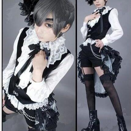 Free shipping new brand  Black Butler Ciel Phantomhive Cosplay Costume+STOCKING 1