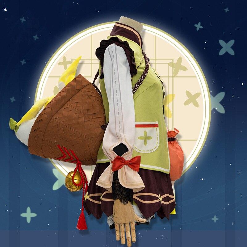 Game Genshin Impact YaoYao Skin Lolita Dress Cute Uniform Loli Outfit Cosplay Costume Women Halloween Yaoyao Cosplay Wig Shoes 3