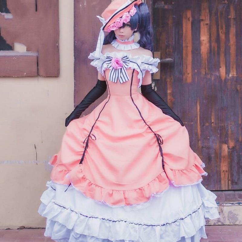 Ciel Phantomhive Cos anime Kuroshitsuji Black Butler pink Cosplay Costume Women girls Halloween fancy dress+hat+gloves+neck 1