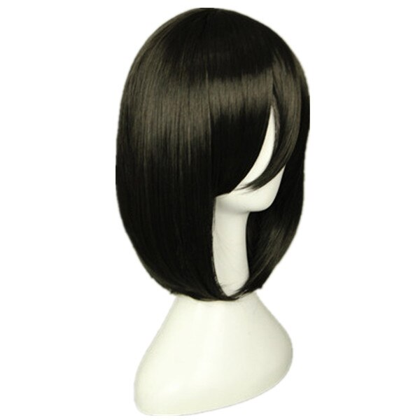 Attack on Titan Mikasa Ackerman Short Bob Black Heat Resistant Cosplay Costume Wig 2