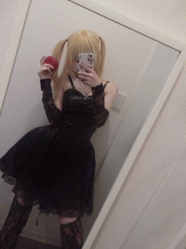 Death Note Misa Cosplay Costume Misa Amane Imitation Leather Sexy Dress +gloves+stockings+necklace Uniform Outfit Cosplay Wigs 2