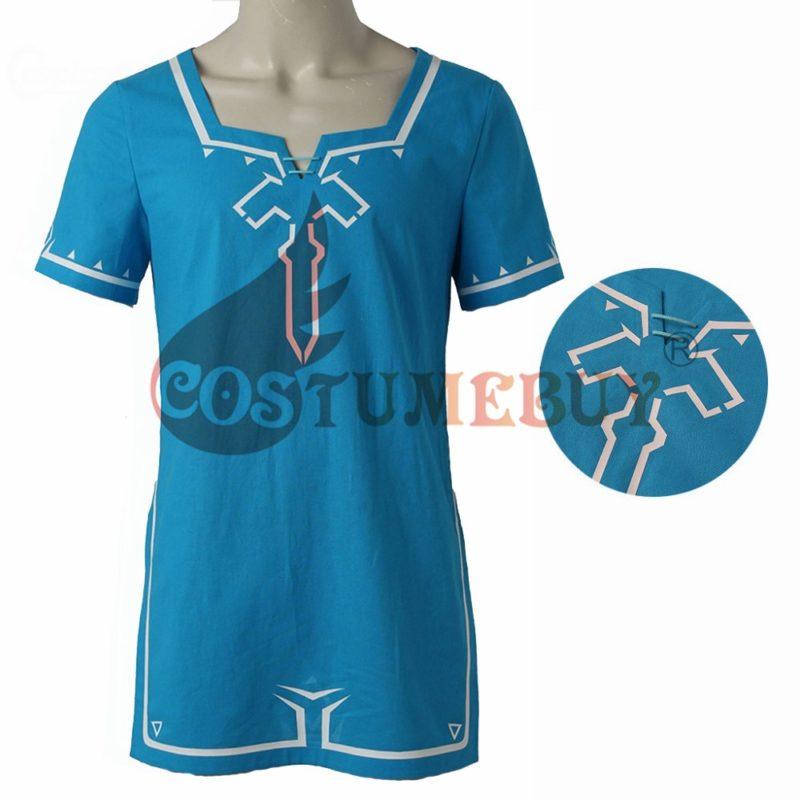 CostumeBuy Zelda shirt Breath of Wild Link blue T shirt Men cosplay Costume Blue T-Shirt Tees Cloak Halloween Unisex 3