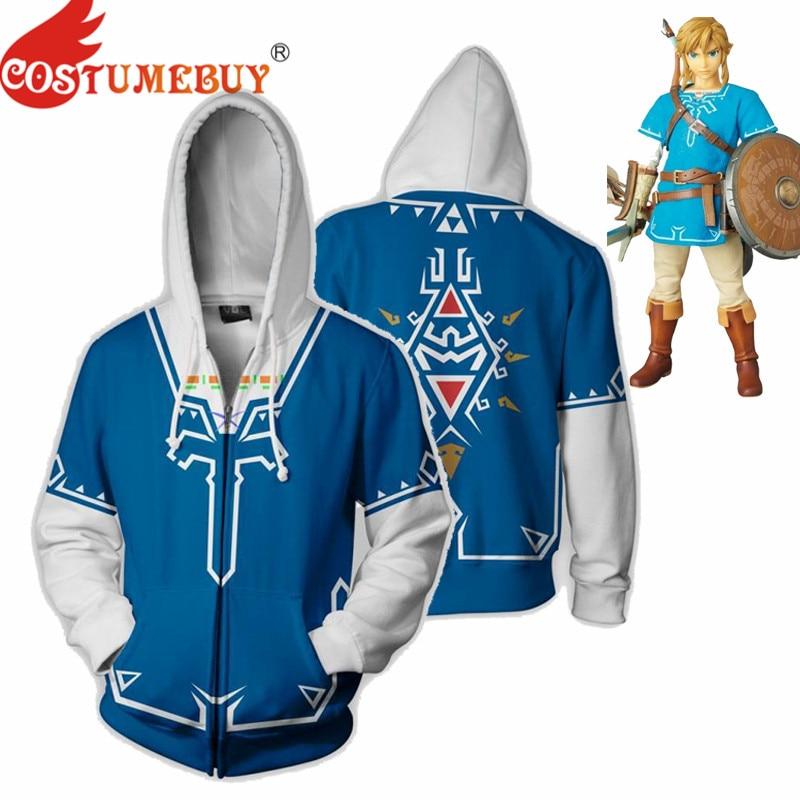 CostumeBuy Zelda Cosplay Set Fighting suit Sweater 3D Sword Link Costume Zipper Hoodie Jacket Plus size 5XL 1