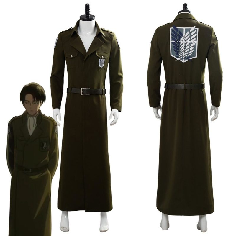 Attack on Titan Cosplay Levi Costume Scouting Legion Soldier Coat Trench Jacket Adult Men Halloween Carnival Clothing 1