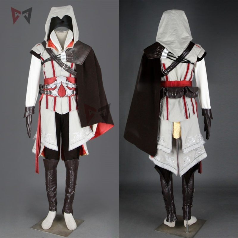 Hot creed cosplay costume ezio assasin connor sweater pants coat 16 PCS Halloween set for man women kids custom made 1