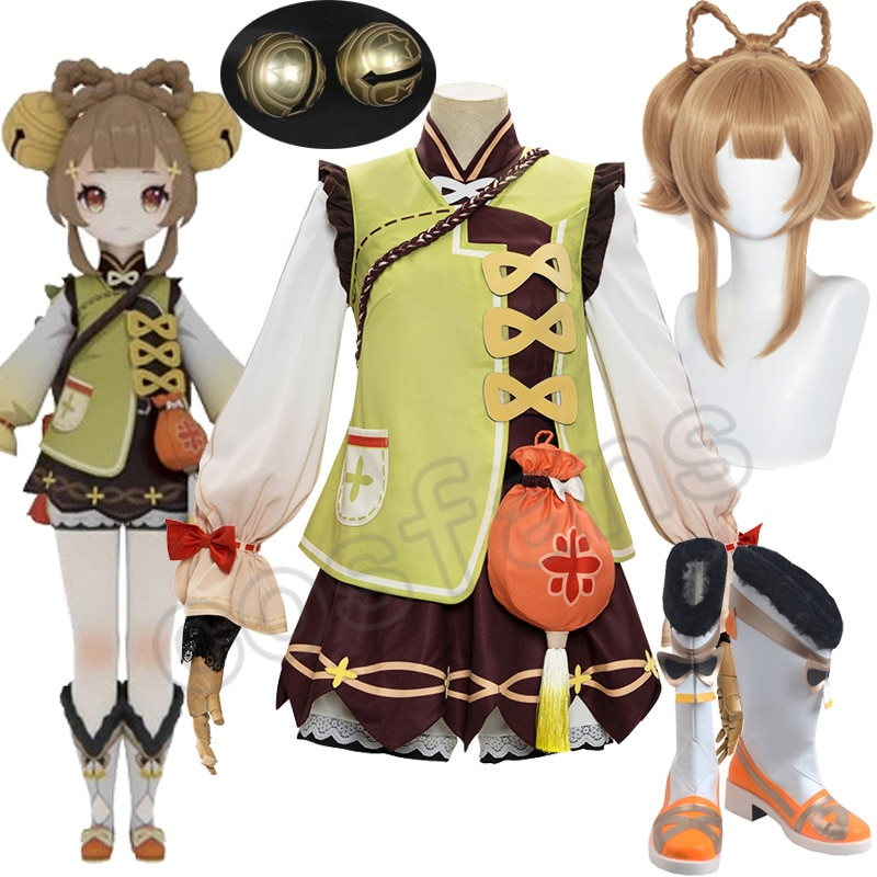 Game Genshin Impact YaoYao Skin Lolita Dress Cute Uniform Loli Outfit Cosplay Costume Women Halloween Yaoyao Cosplay Wig Shoes 1