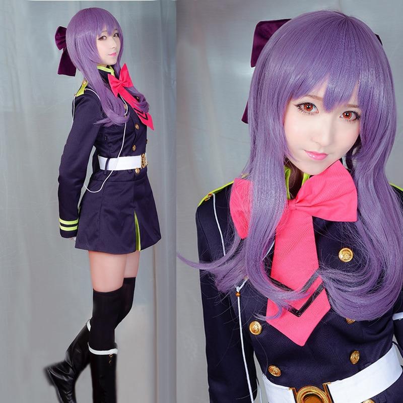 Owari no Seraph Of The End Shinoa Hiragi Purple Hair Heat Resistant Cosplay Costume Wig 1