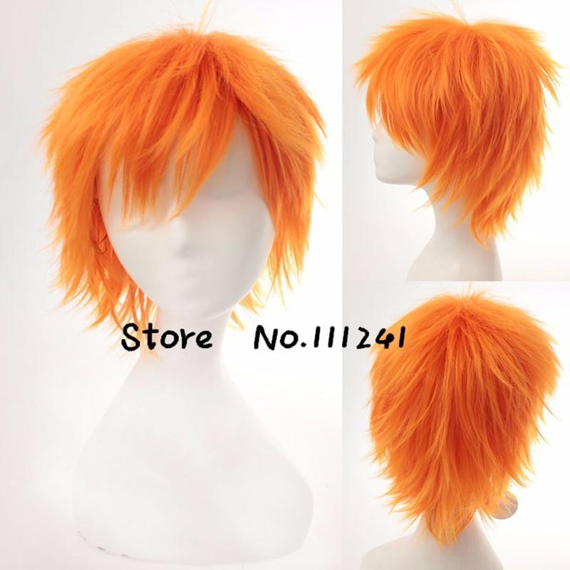 BLEACH Kurosaki Ichigo Pain Short Fluffy Layered Cosplay Wigs for Man Boys Heat Resistant Synthetic Hair + Wig Cap 1