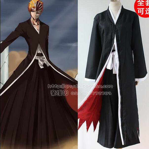 Anime Bleach Cosplay Ichigo Kurosaki Bankai Hollow Mask Wig Men Halloween Cosplay Costume 2