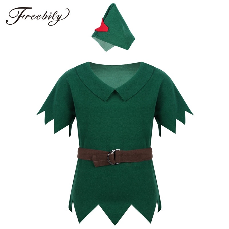 New Arrival Kids Boys Peter Pan Costumes T-shirt with Hat Belt Halloween Cosplay Party Boy for Fancy Carnival Role Play Clothing 1