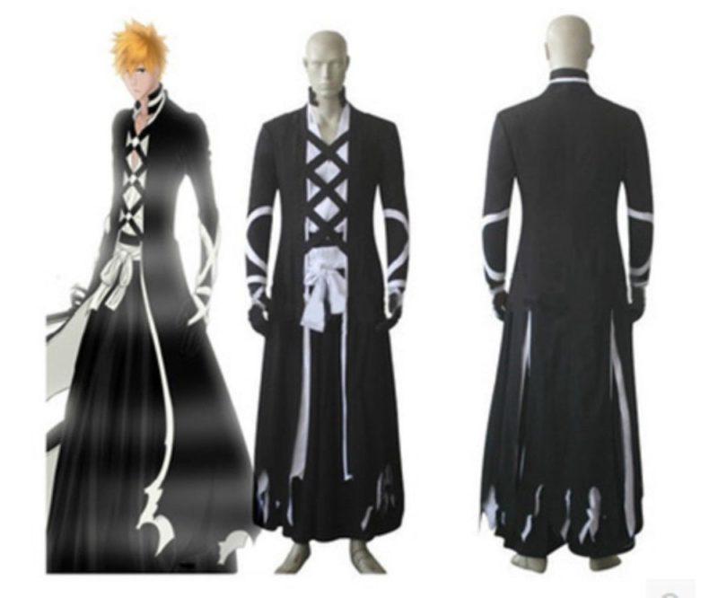 Hot Sale Bleach Ichigo Kurosaki New Bankai cosplay costume outfit Halloween Cloak Costume 1