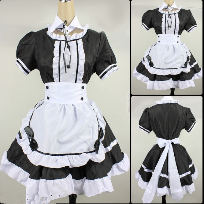 2021 Black Cute Lolita Maid Costumes French Maid Dress Girls Woman Amine Cosplay Costume Waitress Maid Party Stage Costumes 1