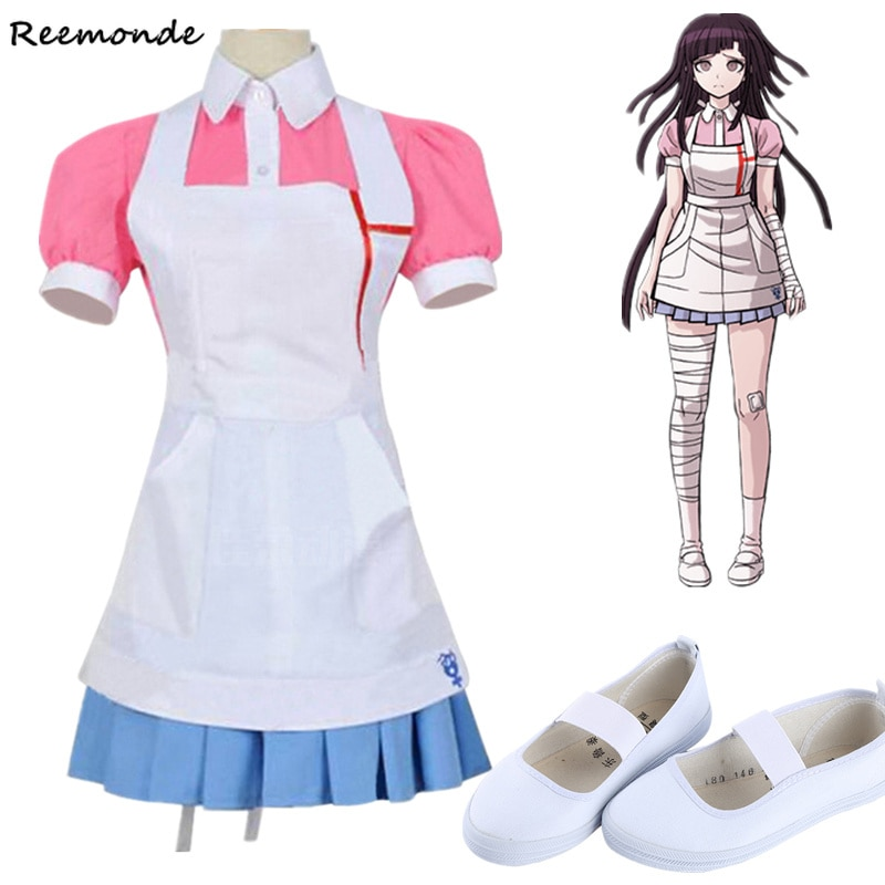 New Dangan Ronpa 2 Mikan Tsumiki Cosplay Costume Danganronpa Wig Suit Top Skirt Pink Apron Dress Woman Shoes Princess Dress Girl 1