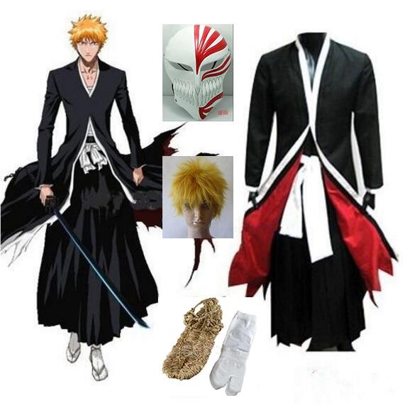 Anime Bleach Cosplay Ichigo Kurosaki Bankai Hollow Mask Wig Men Halloween Cosplay Costume 1
