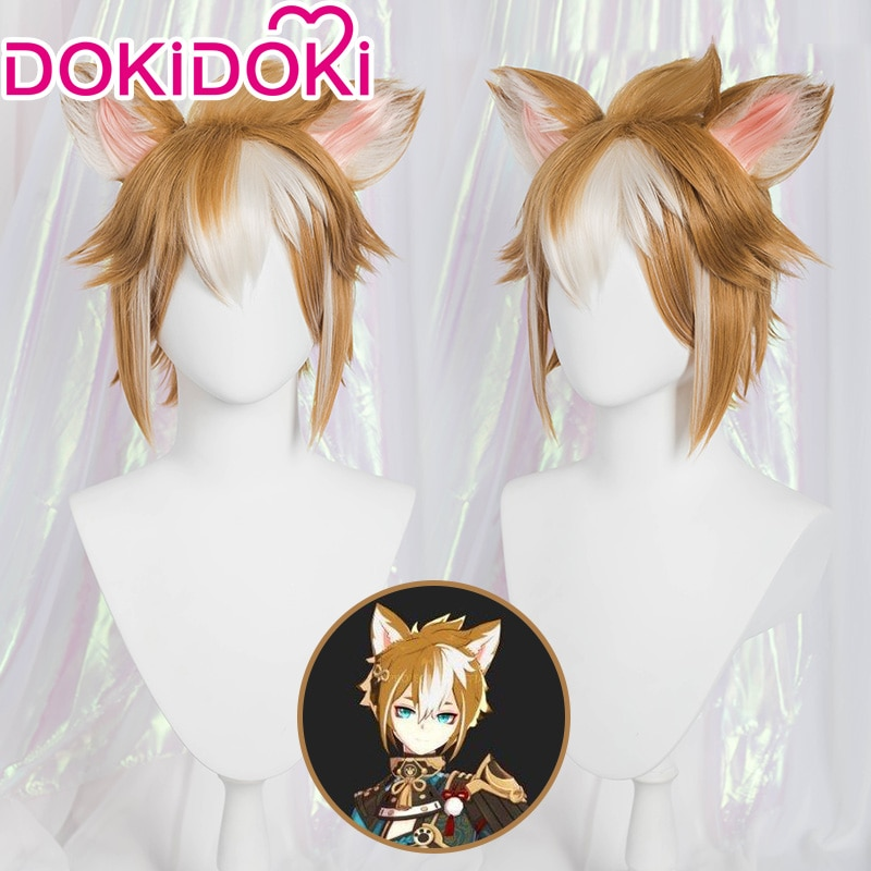 DokiDoki Game Genshin Impact Cosplay Halloween Gorou Cosplay Wig Genshin Impact Gorou Hair 1