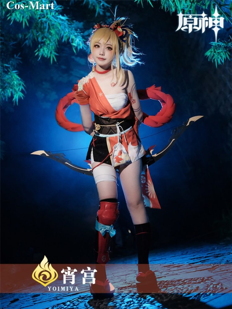 Game Genshin Impact Yoimiya Cosplay Costume Female Fashion Combat Uniform Activity Party Role Play Clothing XS-XXL New Product 4