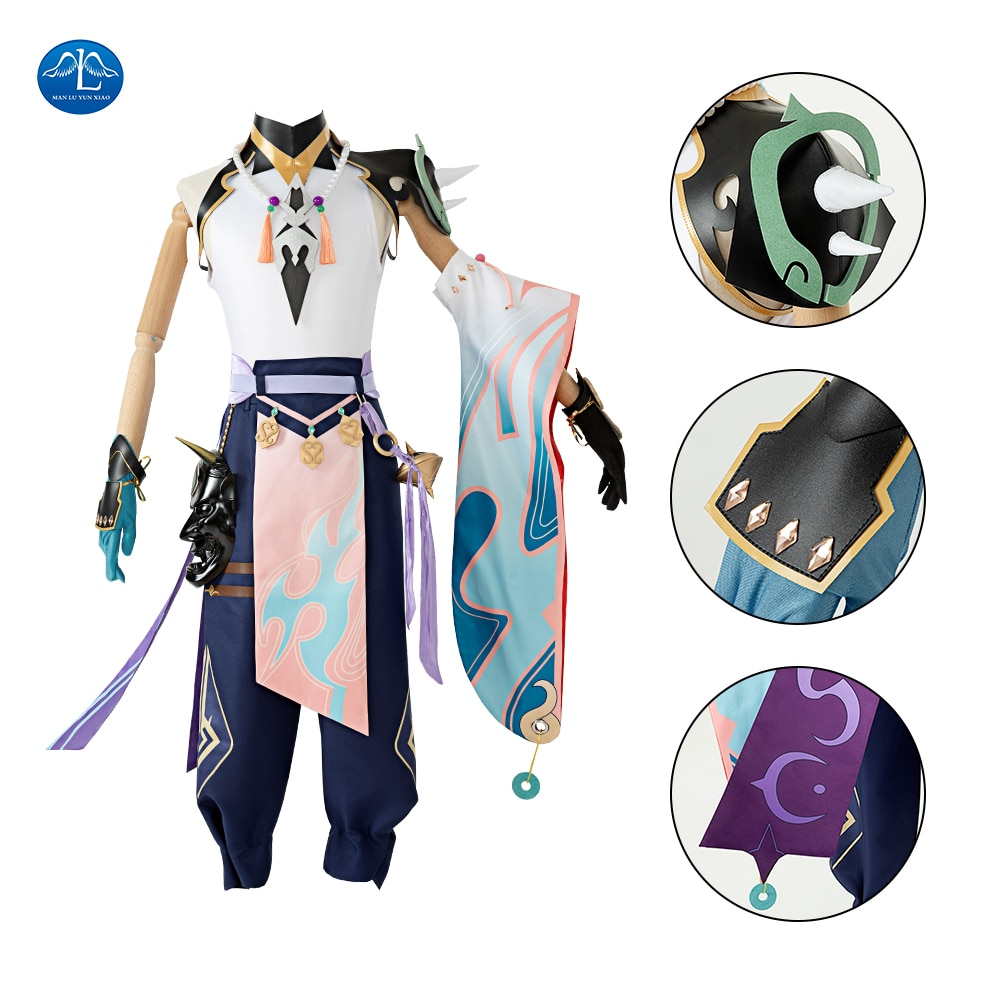 Anime Cosplay Game Genshin Impact Xiao Cosplay Costume Halloween Party Uniforms for Adult Men Any Size 1