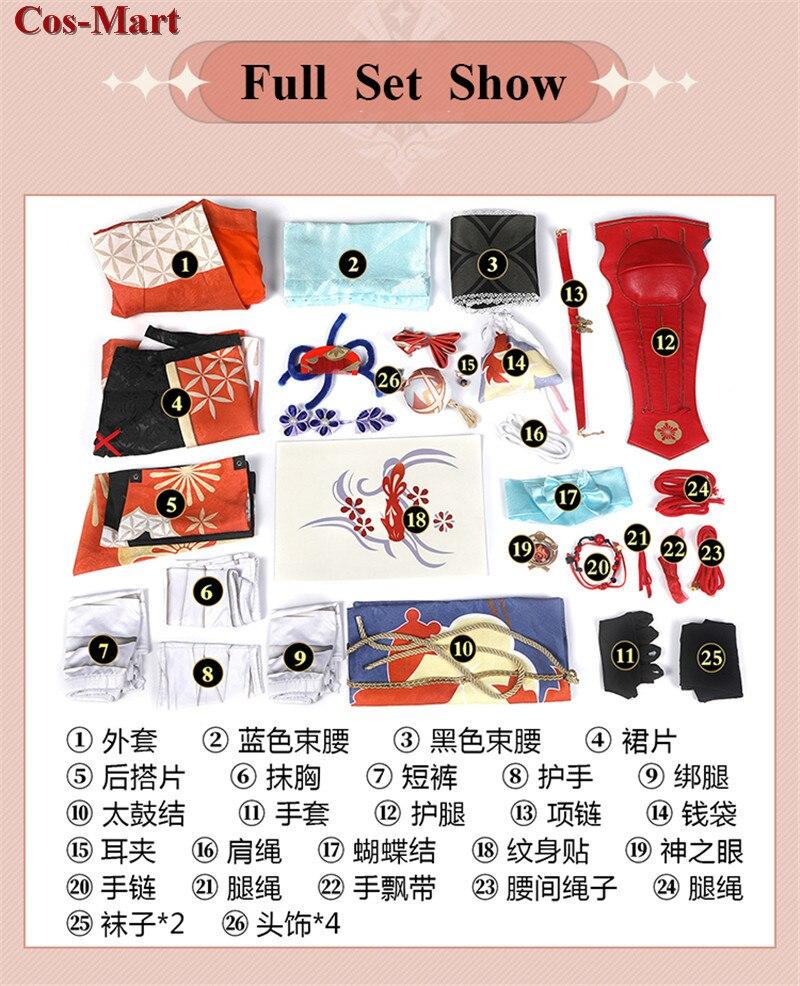 Game Genshin Impact Yoimiya Cosplay Costume Female Fashion Combat Uniform Activity Party Role Play Clothing XS-XXL New Product 7